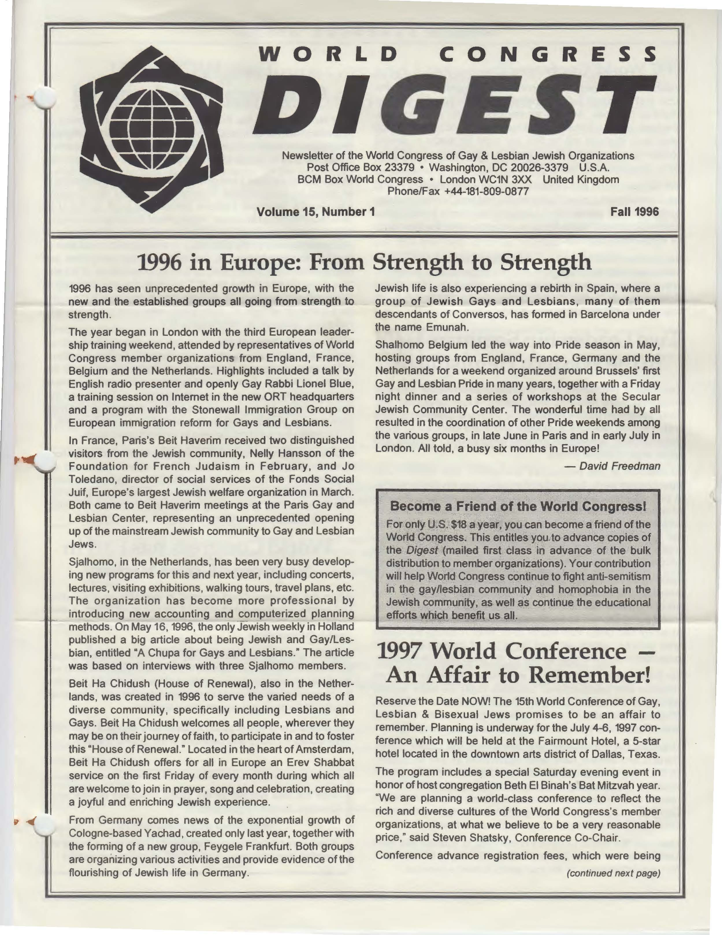 World Congress Digest Fall 1996